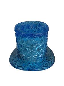 VINTAGE FENTON GLASS TOP HAT DEEP BLUE CUT GLASS DAISY & BUTTON 2 1/2 INCH