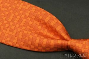 "HERMES 7942 MA Orange Plaid Check 100% Silk Mens Luxury Tie - 3.50"""