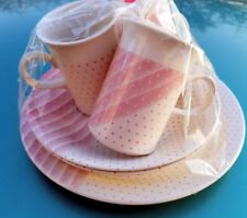 6pc breakfast set Churchill England  pink shades stripes dots