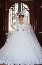 White/ivory Lace Long Sleeve Bridal Gown Wedding Dresses Ball Gowns Custom 2-24