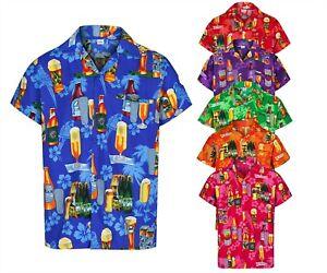 MENS HAWAIIAN SHIRT BEER BOTTLE STAG FANCY DRESS PALM BEACH HOLIDAY SUMMER ALOHA