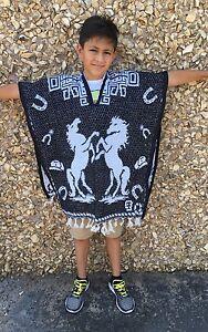 MexiCO KID Poncho, Horses , Costume ,Blanket Sarape Gaban ,Kids  Size, (6 - 12)