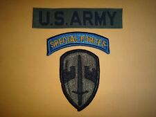 3 US Military Patches: U.S. ARMY Pocket Tape + SPECIAL FORCES Arc + MACV Patch