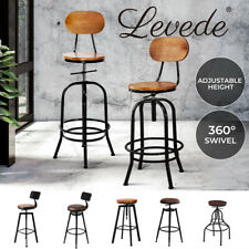 Levede Industrial Bar Stool Kitchen Stools Wooden Leather Barstools Swivel Chair