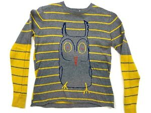 Stella McCartney Girl's Size 12 Years Gray and Yellow Striped Owl Sweater