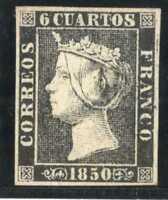 Sello de España 1850 Isabel II nº 1a 6 cuartos negro sello nuevo ref. A1
