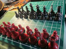 Vintage Metal Chess Pieces in Distressed Red / Black Finish