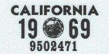 1969 CALIFORNIA Vinyl Sticker License Plate Reg.TAB - CAR-TRUCK-MOTORCYCLE - NEW