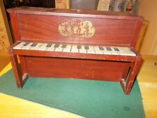 EARLY 1900S ALL TIN CHILD'S PIANO WITH WITH DANCING ANGELS AND BABY UPRIGHT CHIC