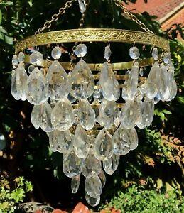 PRETTY VINTAGE 5 TIER BRASS LARGE CRYSTAL GLASS TEAR DROP WATERFALL CHANDELIER