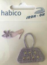 Habico Lilac Shoe & Bag / Handbag Iron on Motif Patch Child Adult Embellishment