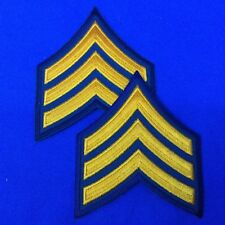 """Police Sergeant Stripe Patches 3"""" Dk. Navy W/ Gold Set of 2 FREE SHIPPING P17-2"""