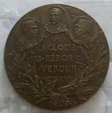 1916 Heroes of Verdun -  French WWI Bronze Medal by Charles Pillet