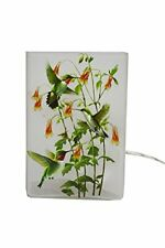 """Stony Creek - Frosted Glass - 6"""" Lit Rectangle Vase - Hummingbirds - Green"""