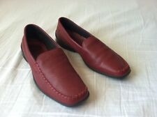 Hotter Made in England Wine Red Pebble Leather Loafers Flats Driver Shoes 9 UK 7