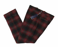$695 Ralph Lauren Purple Label Mens Red Green Italy Wool Casual Dress Pants New