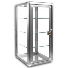 Glass Countertop Display Case Store Fixture With Front Lock Silver 14x12x27