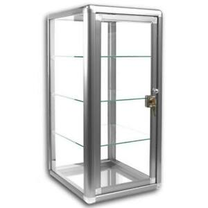 """Glass Countertop Display Case Store Fixture with front lock Silver 14""""x12""""x27"""""""
