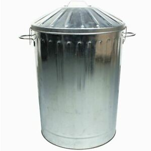 90L Colour Metal Dustbin House Garden Bin Special Locking Lid Galvanised UK