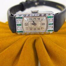 Antique Bulova DIAMONDS  French Cut Emerald Wind Up 14k Gold Women`s Watch
