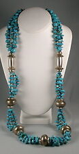 Maya Evangelista Hand Crafted Turquoise & Silver Beaded Necklace