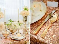 60''*102'' Rectangle Sparkly Rose Gold Sequin Glamorous Cloth/fabric for Wedding