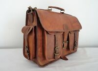 Brown Leather Satchel Messenger Bag 15 in Laptop Briefcase Office Crossbody Bags