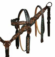 Showman Hand Painted Tooled Leather Copper Hardware Bridle Breast Collar Set