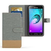 Tasche für Samsung Galaxy J3 (2016) Jeans Cover Handy Schutz Hülle Hellgrau
