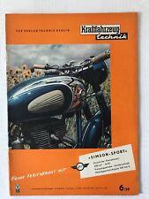 Kraftfahrzeugtechnik KFT 06/1959 Zeitung Sammeln Alt DDR IFA Geburtstag Geschenk