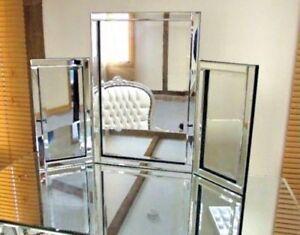 Dressing Table Mirror Bevelled Clear Venetian Tri-Fold Free Standing 54cm x 78cm