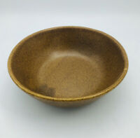 """VTG Monmouth Pottery Mojave Brown Serving Bowl Maple Leaf Embossed 9"""" X 2.75"""""""