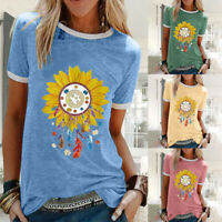 Womens Holiday Sunflower Blouse T-Shirt Tee Ladies Casual Floral Sweatshirt Tops