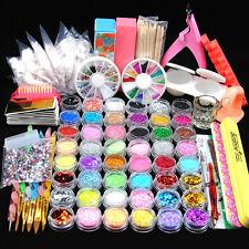 Full 48 Pot Acrylic Nail Art Powder Glitter UV Gel Clipper Brush Tips Set Kit