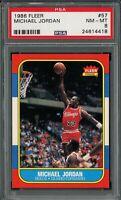 1986 Fleer Michael Jordan ROOKIE RC Basketball Card # 57 PSA 8 NM - MINT ++