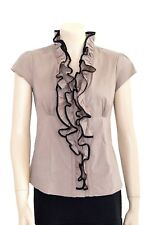 Amisu Taupe and Black Ruffle Front Shirt Preloved - Size S