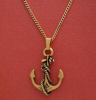 Anchor Necklace Gold plated charm pendant and chain beach jewellery ocean sea
