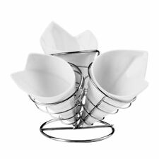 French Fry Cone Set, 3 White Porcelain Cones, Chrome Finish Stand