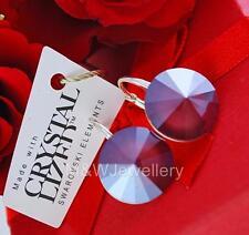 925 STERLING SILVER EARRINGS CRYSTALS FROM SWAROVSKI® 14 MM RIVOLI - DARK RED
