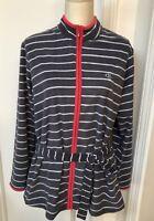 Women's Sweater Jacket Claudel Lingerie Stripped Size L Gray