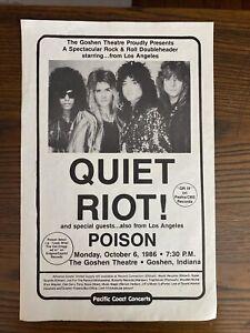 """QUIET RIOT w/ POISON Poster 1986 Goshen Indiana Original Vintage 17"""" x 11"""""""