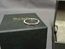 Clogau Silver & Gold Affinity Pink Sapphire Heart Stacking Ring Size L RRP £79