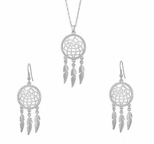 HORSE & WESTERN JEWELLERY JEWELRY DREAM CATCHER CZ NECKLACE EARRINGS SET SILVER