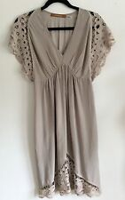THURLEY Designer Taupe Silk Dress Tunic Lace Sleeves S.10