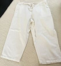 Womens White Linen Style 3/4 Length Trousers Size 14