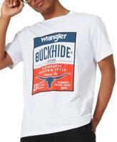 Wrangler Men's Crew Neck Short Sleeve Buckhide Graphic T-Shirt (White, 2XL)
