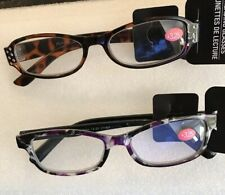 Womens Fashion Reading Glasses Brown Black Rhinestones & Purple Black +3.25 2Pk