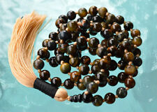 Charming 8mm Rare Tiger Eye & Black Onyx Hand knotted Japa Mala Beads Necklace