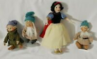 Disney Porcelain Cloth Body Dolls Snow White & 3 Dwarfs Dopey Sleepy & Bashful