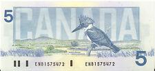 Canada 1986 $5.00 Five Dollars ENB Prefix Crow-Bouey First Series Choice UNC